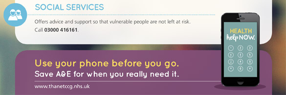 Social Services. Offers advice and support so that vulnerable people are not left at risk. Call 03000 416161