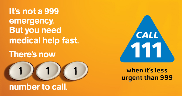 It's not a 999 emergency. But you need medical help fast. There's now 111